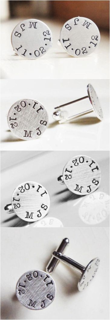 Personalized Wedding Cufflinks by River Valley Designs. These personalized sterling silver cuff links make a great gift for your groom, groomsmen or for the father of the bride. | Made on Hatch.co by independent designers and makers who care.