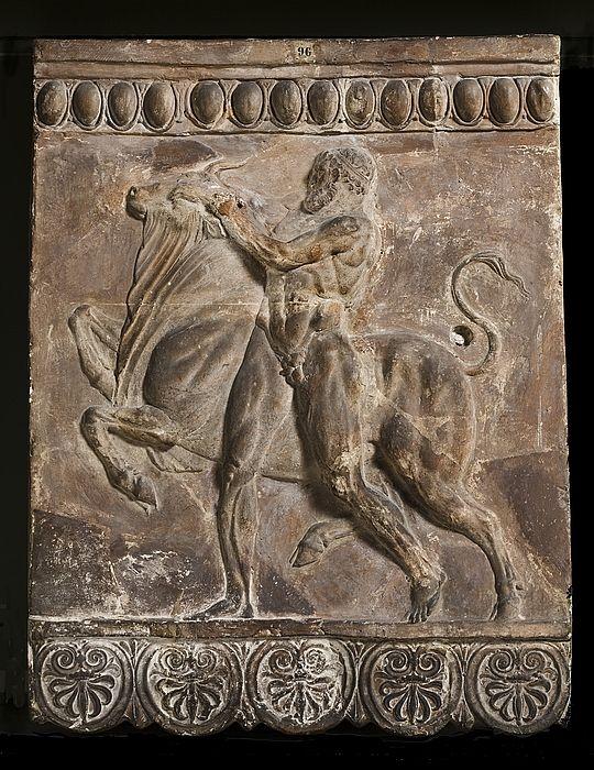 Campana relief with Hercules fighting the Cretan bull. Roman, 50 BC-50 Restored