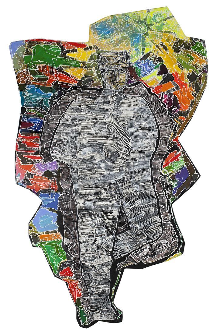 Luis Felipe Noé - AVANZANDO ENTRE DUDAS 2014 - Acrílico y tinta sobre papel - 209 x 129,5 cm