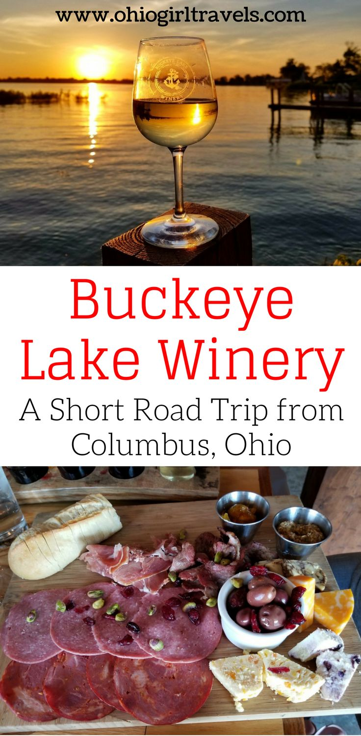 Buckeye Lake winery is a beautiful winery near Columbus, Ohio. It's located on a  beautiful lake with incredible sunsets. The Buckeye Lake winery features 9 wines and  tons of delicious food options. This is the perfect date night near Columbus, Ohio or bachelorette party near Columbus, Ohio. Make sure you save this Ohio winery to your travel board so you can find it later.