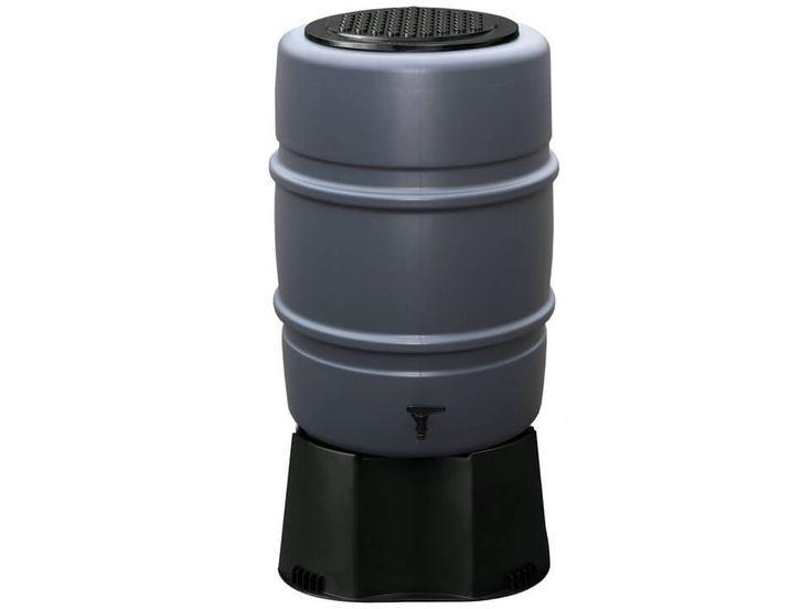 Kunststoff Regentonne Harcostar anthrazit 168 Liter auf Fuβ.