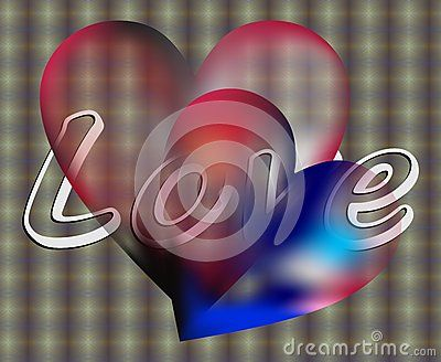 Two transparent hearts on silvered background with love wishes.