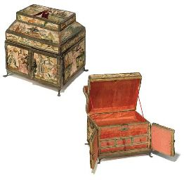Mid 17th century embroidered casket