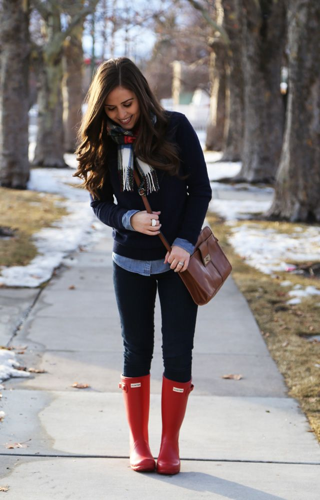red hunter wellies and a plaid scarf, for a cozy casual day.