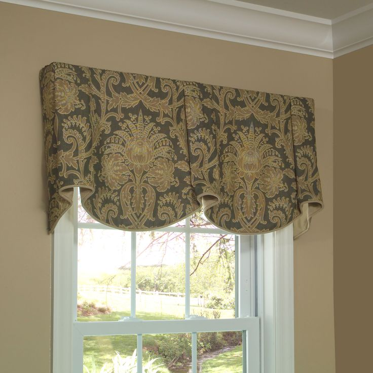 Sheffield valance allows you to feature two pattern motifs on the scallops and bells in a simple - Kitchen valance patterns ...