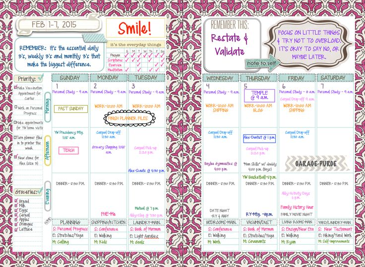 Weekly Planning Spread. Effective, sweet, and functional. See previous pin on using the lay-out with scrapbook paper :] www.intheleafytreetops.com