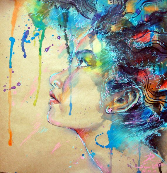Original watercolor of abstract thai woman by ratchadapornsangziw