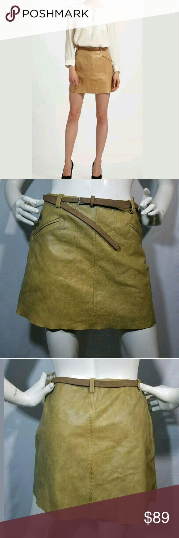 Joie Skirt Women's Size Small Cow Leather Mini Joie Skirt Women's Size Small Cow Leather Mini Belt Dune NWT $298  New skirt. Pockets. 100% Cow Leather.  Small spot of discoloration (see Pic).  29 inch waist.  14.75 inches long.  40 inch hips.   LB Joie Skirts Mini