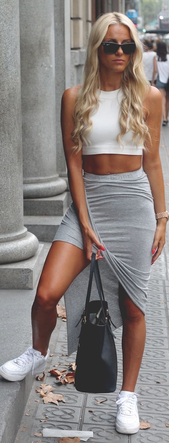 White Crop Top // Grey Skirt