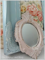 Antoinette painted over gold resin mirror, lightly distressed, finished with clear wax Chalk Paint® decorative paint by Annie Sloan.