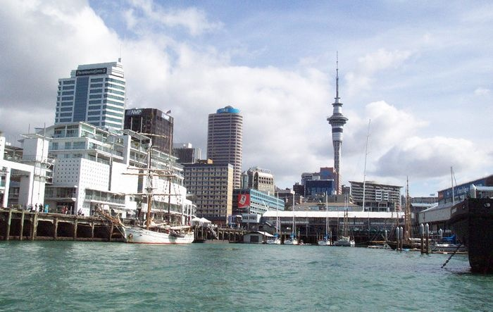 boating view of Sky Tower, Auckland CBD