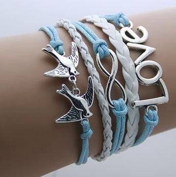 Leather Infinity Bracelets - Love