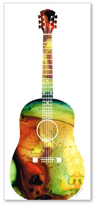 Acoustic Guitar Bold Art Print from Painting Colorful Music Musical Instrument Country CANVAS Ready To Hang Large Artwork FREE Shipping S/H via Etsy