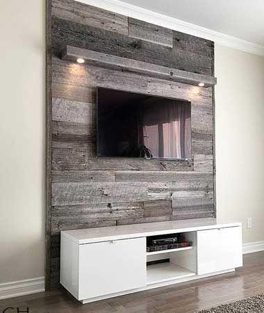 Idée décoration et relooking Salon Tendance Image Description Mur en bois de grange dans un salon