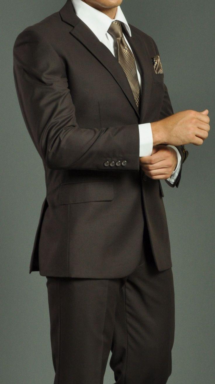 Men's Two Button Brown Suit: Men Suits Designer Men Wedding Suits | Suit2Suit.com