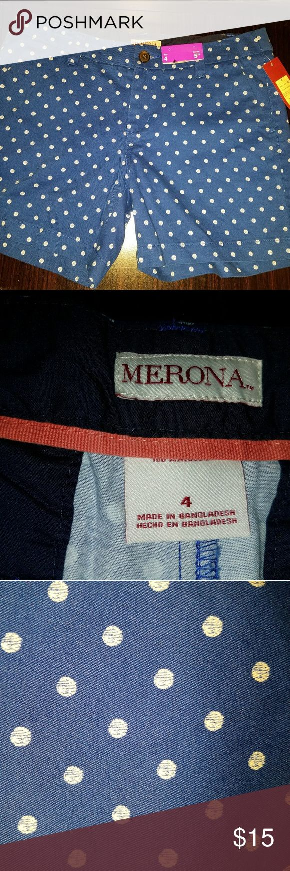 NWT Merona Women's Polka Dot Shorts Size 4 NEW WITH TAGS  Merona Women's Shirts Size 4 with 5 inch inseam Navy shorts with white polka dots   Bundle your likes for a private offer!  I do take bids. If you have any questions then just drop a comment (: Merona Shorts