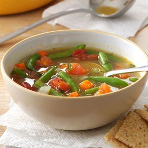 Tomato Green Bean Soup  Makes 5 servings - uses 1lb beans and 3 Hungarian Heart tomatoes  Use less stock for thicker soup - could add pasta shells for heartier version