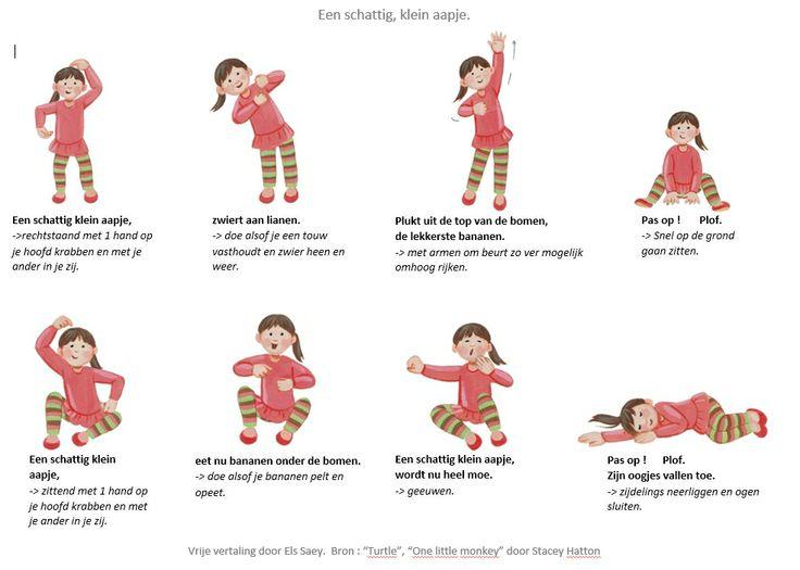 """Bewegingsversje : Schattig klein aapje. Vrije vertaling door Els Saey  Bron : """"Turtle"""",  """"One little monkey"""" door Stacey Hatton."""
