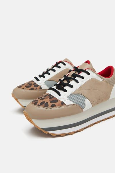 7fca6e0b0fb1 Image 3 of LEOPARD FLATFORM SNEAKERS from Zara | On my wish list ...