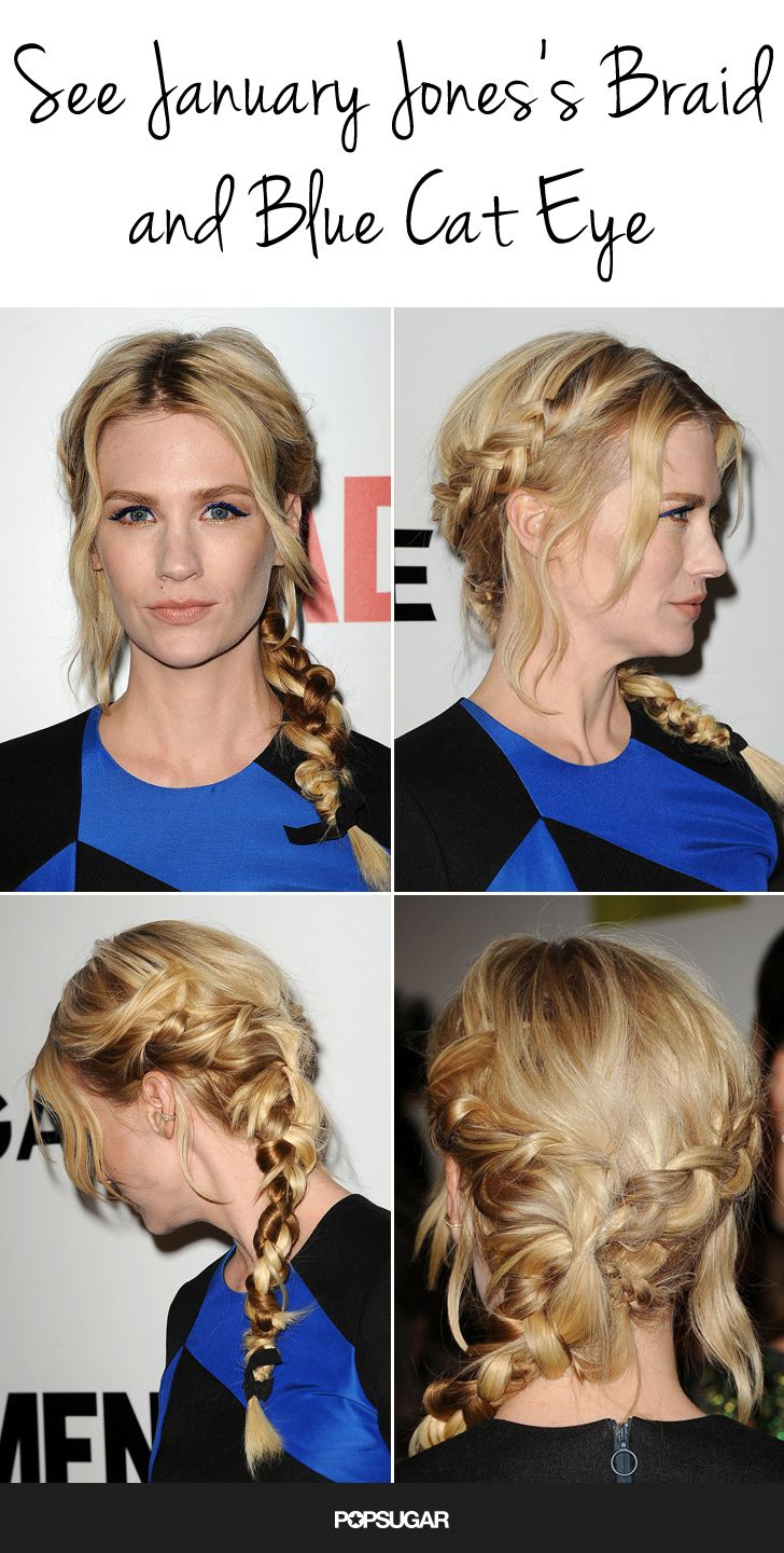 See every angle of January Jones's multibraid and blue cat eye at the season seven Mad Men premiere!