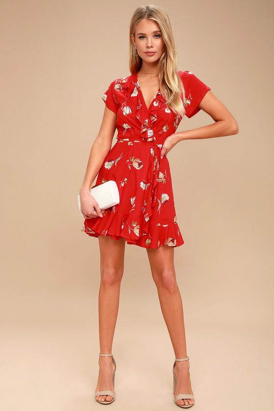 630cef2cb1 Romance Red Floral Print Wrap Dress in 2019 | Fashion | Dresses ...