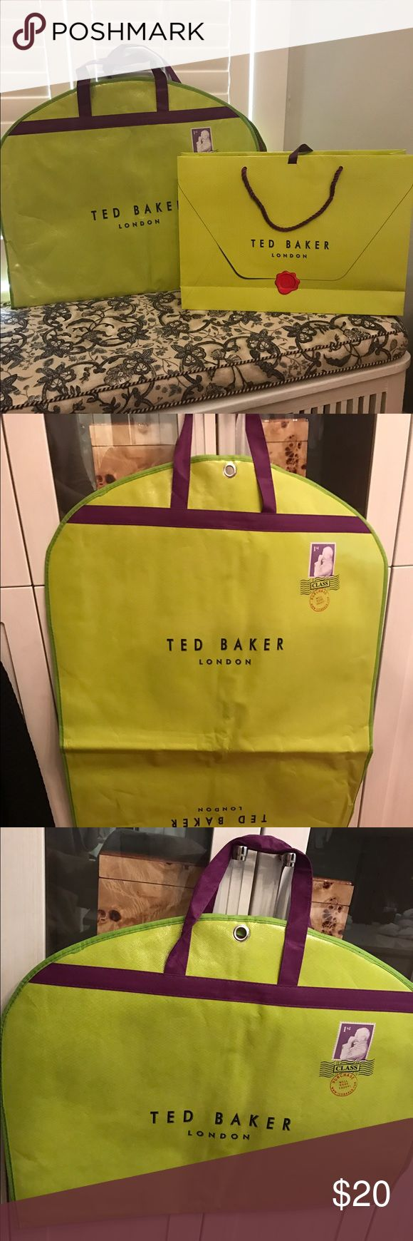Ted Baker garment/dress bag & 18x13 shopping bag. Dress/suit/garment bag 37 inches long and shopping bag is 18x13 inches. Price is for 1 of each item.       See picture 4 for a great idea to use designer shopping bags for dressing room art. This listing does not include the framed pieces! Other