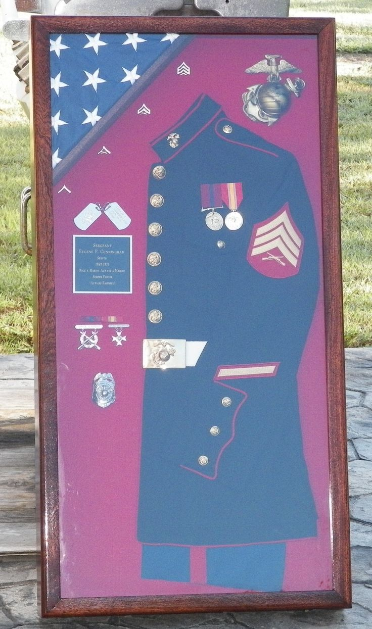 Marine Corps Shadow Box Idea [mine (Navy) has all my ranks as the sew on patches. not the entire uniform though. jh]