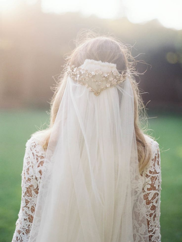 romantic vintage-inspired wedding veil and headpiece