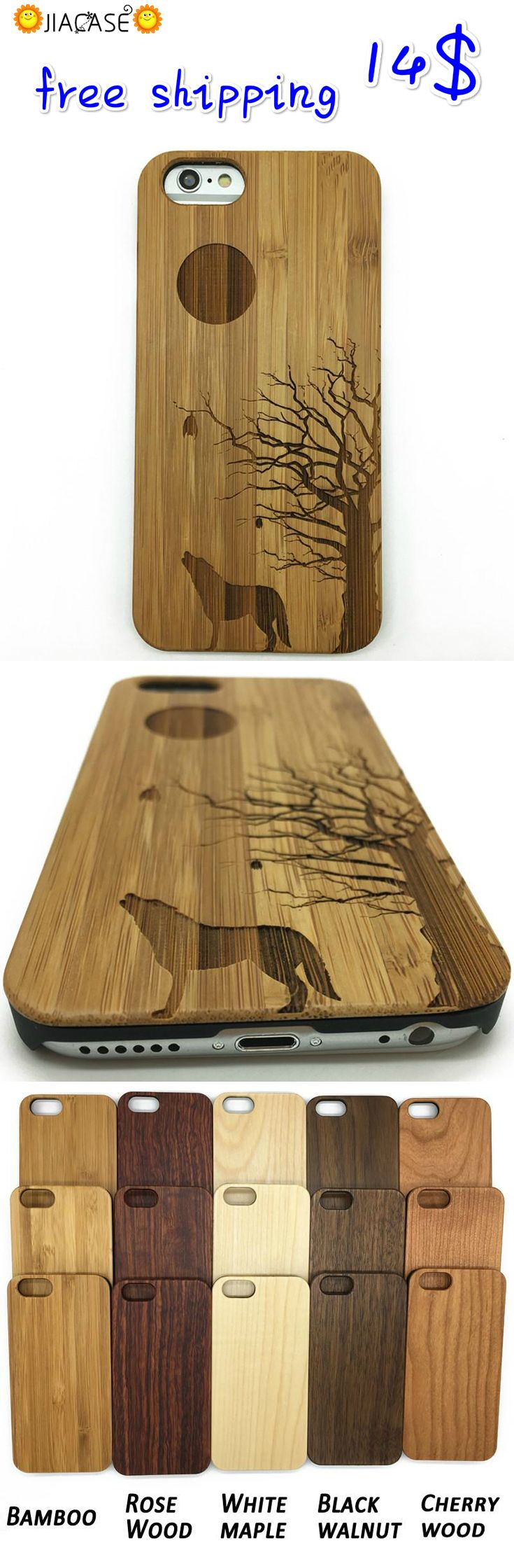 #Wooden #Case #Howling Full #Moon #Wolves for #IPhone7/7plus ,#Samsung Galaxy
