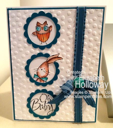 Adorable baby boy card. Stampin' Up! Blendabilities: Baby We've Grown - Oh Baby!