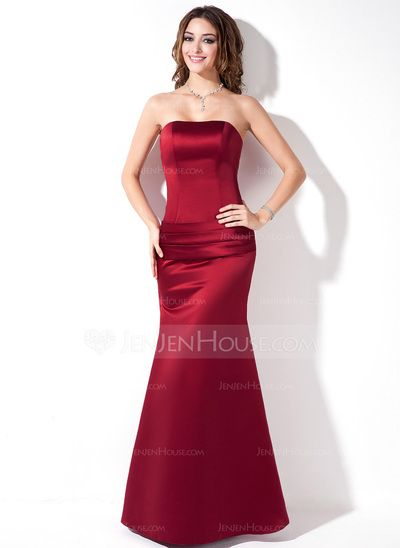 Bridesmaid Dresses - $94.99 - Trumpet/Mermaid Strapless Floor-Length Satin Bridesmaid Dress With Ruffle (007001835) http://jenjenhouse.com/Trumpet-Mermaid-Strapless-Floor-Length-Satin-Bridesmaid-Dress-With-Ruffle-007001835-g1835