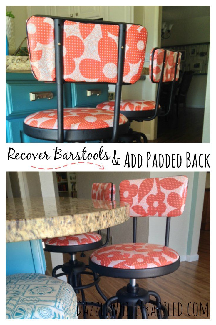 How to quickly and easily recover barstools with fabric AND how to add a padded fabric-covered back where there wasn't one using cardboard, foam and multipurpose spray adhesive. How to turn an online garage sale find into cool, retro-inspired kitchen barstools using laminated cotton fabric./ via DazzleWhileFrazzled blog