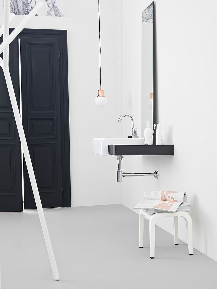 Bathroom:Adorable Small Bathroom Design Solutions With Smart Washbasins With Stainless Steel Bath Faucet And Mirror Also Pendant Light And Magazines Collection Above Short Table And Double Black Doors In White Wall Inspiring Small Bathroom Design Ideas with Beautiful and Attractive Washbasins