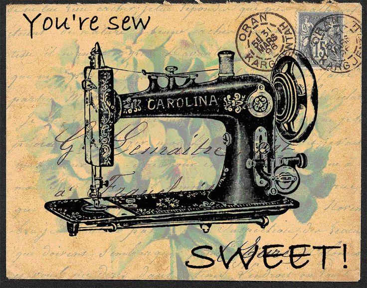 Free freebie printable vintage sewing machine postcard collage