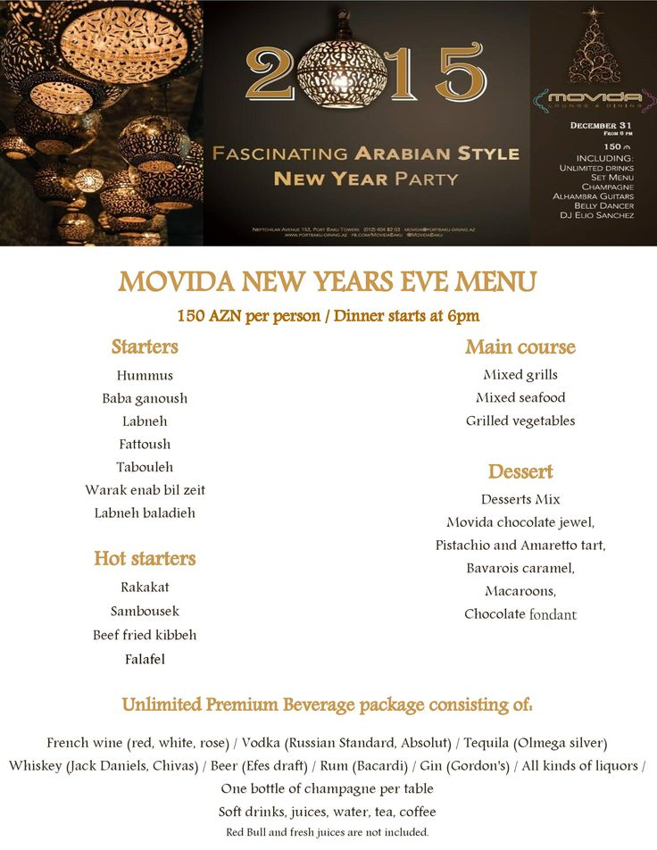 Dear Guests, here you can see our special menu offer for unforgettable New Year Party! Best selection of the most popular dishes from unique Movida cuisine and high quality drinks, along with stunning atmosphere, will brighten your evening! Book your tickets via *6363 or (012) 404 82 03 and feel free to get them right from @movida0753 ! #movida #lounge #dining #newyear #new #year #party #night #special #menu #food #beverages