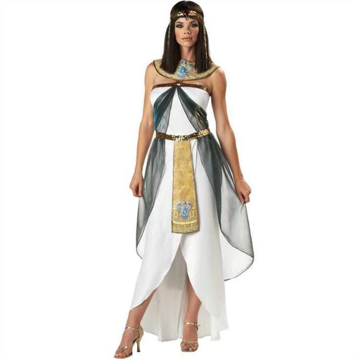 Women's White Greek Goddess Irregular Elegant Dress Halloween Costumes Egyptian Arab Queen Stage Role Cosplay Dress