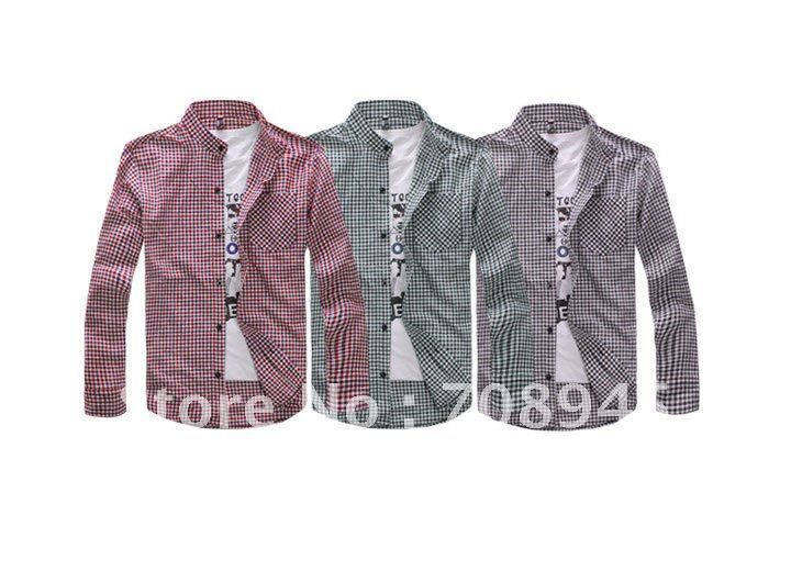 1 pcs  Best Selling!!standing collar men's long-sleeved shirt +Free shipping