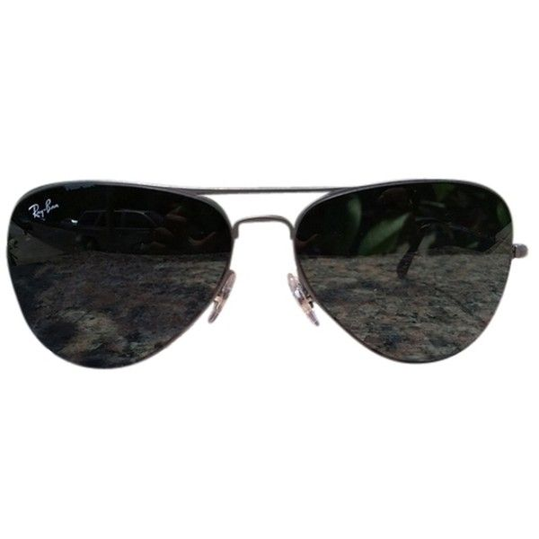 Pre-owned Ray-ban Aviator Sunglesses ($105) ❤ liked on Polyvore featuring accessories, eyewear, sunglasses, glasses, flat metal, sports sunglasses, ray ban glasses, military glasses, military aviator glasses e metal sunglasses