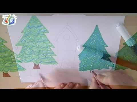 Tutorial per bambini: paesaggio invernale a pennarelli