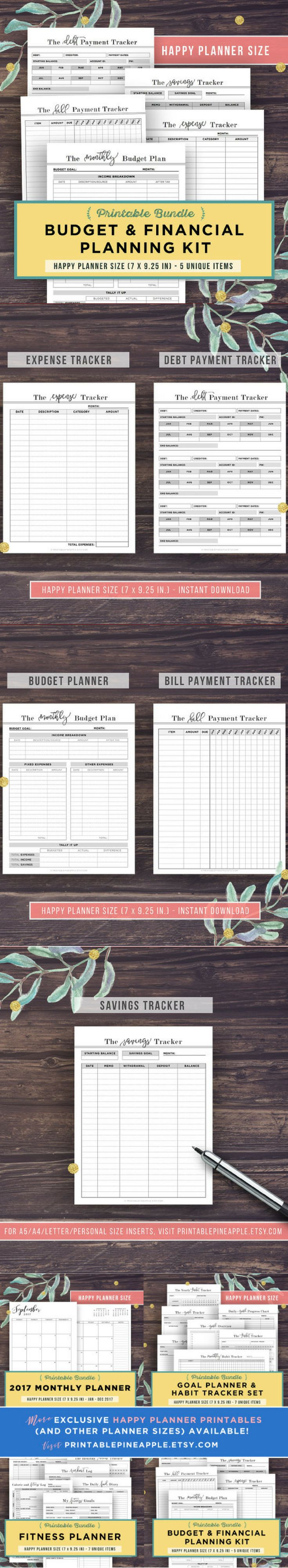 Best 25 financial plan template ideas on pinterest household printable planner inserts for happy planner classic budget and financial planning bundle 5 robcynllc Image collections