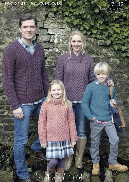 Family Sweaters in Hayfield Bonus Aran (7142) – Deramores