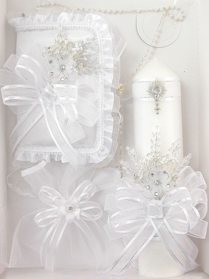 First Communion Floral Candle Gift Set – English