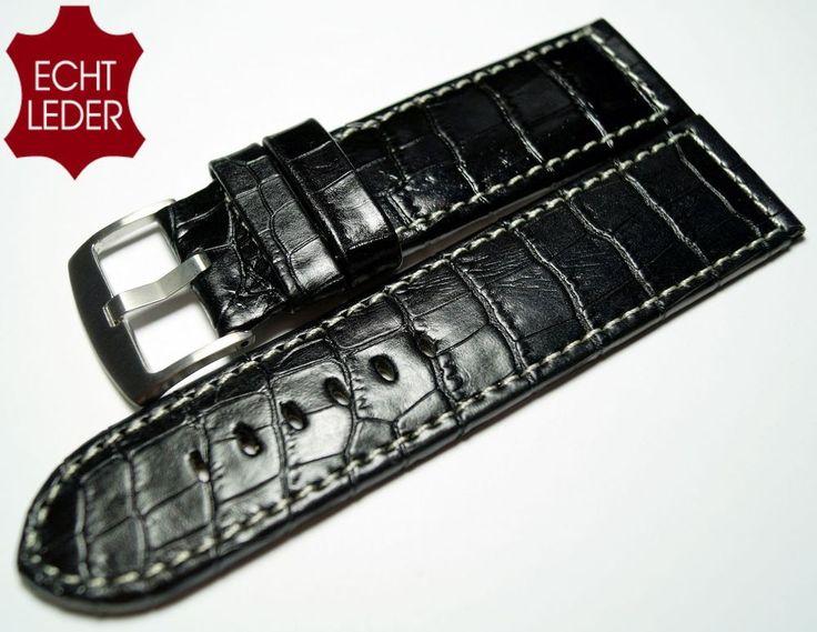 Uhrenarmband Leder Ersatz Armband Kroko Look Watch Strap Leather schwarz 24 mm *