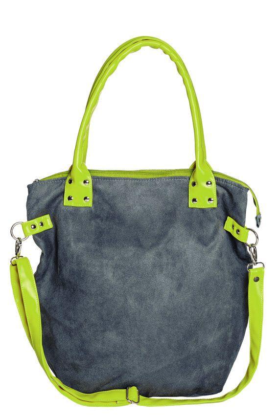 → Dieser Sack Tasche ist komfortabel.  → Es wird der Grau Öko- Wildleder. Es ist haltbar Futter mit 3 Innentaschen ( eine mit einem Reißverschluss
