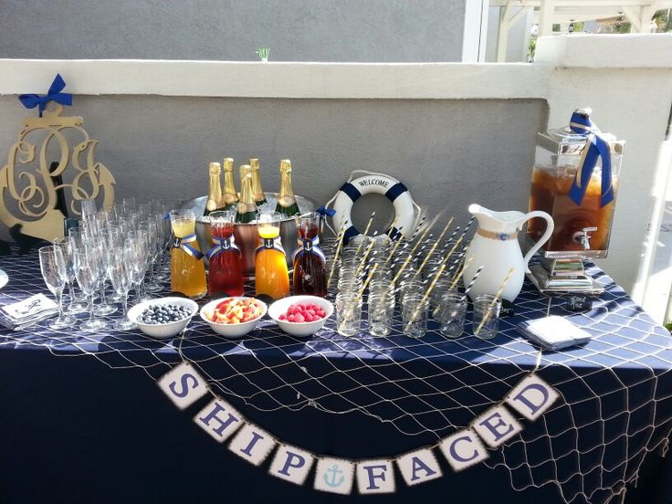 Mamosa bar drink table nautical baby shower