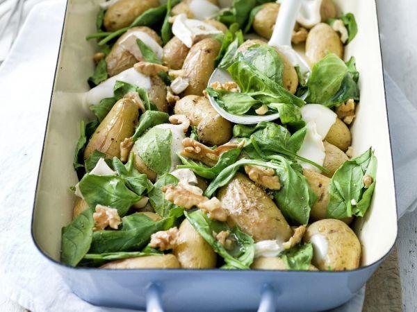 Gepofte aardappeltjes met spinazie en geitenkaas (Libelle Lekker!)