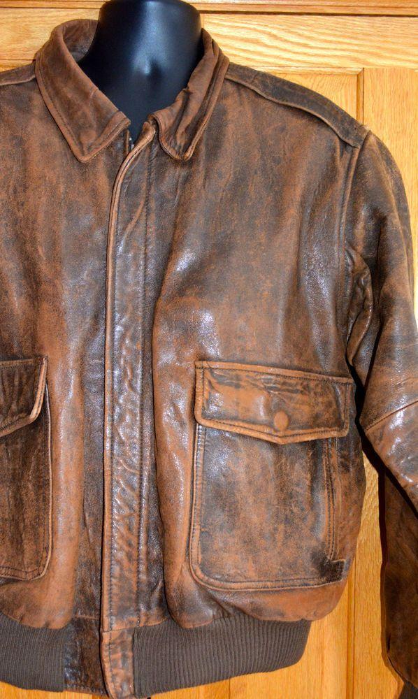 Vintage AMERICAN EAGLE Logo Distressed Brown Leather Flight Jacket Mens 46 XL bp #AmericanEagle #FlightBomber