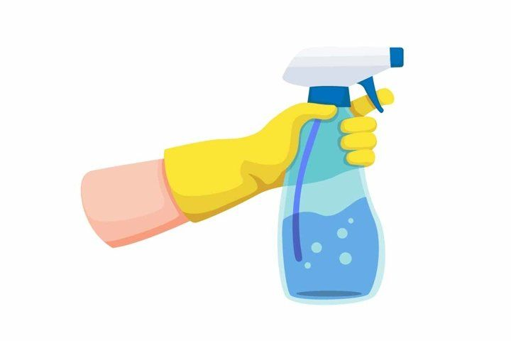 Hand With Yellow Glove Holding Spray Transparent Bottle 576170 Illustrations Design Bundles Yellow Gloves Spray Bottle Cleaning Cartoon