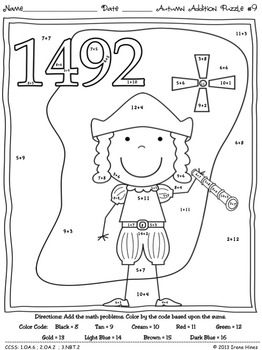 Practice fine motor skills while adding and having fun! Autumn Addition ~ Math Printables Color By The Code Puzzles To Practice Basic Addition Facts. ~This Unit Is Aligned To The CCSS. Each Page Has The Specific CCSS Listed.~ This set includes 10 fall themed math puzzles to practice basic addition facts. CCSS: 1.OA.6 ; 2.OA.2 ; 3.NBT.2 Set also includes 10 answer keys for the 10 puzzles. $