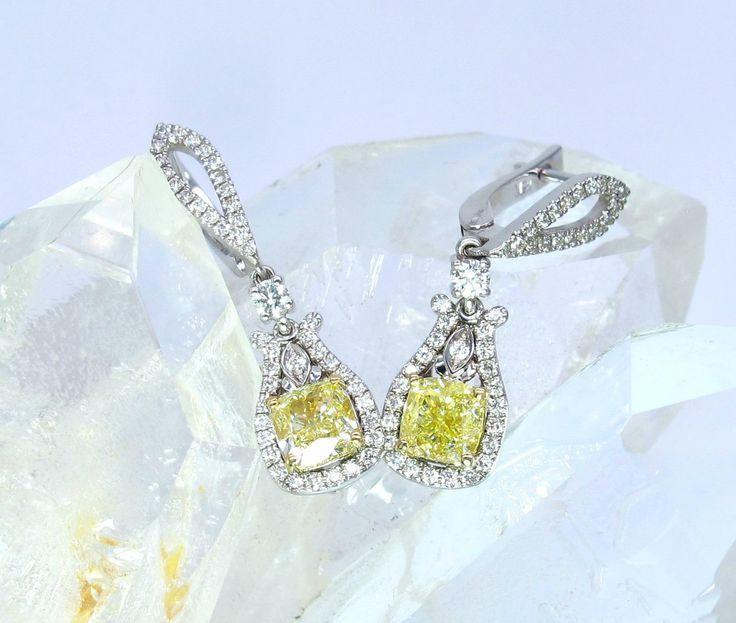 Vintage Weißgold ausgefallene gelbe Diamantohrring Paar Ohrringe Set